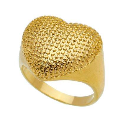 Anel Coração Liso Banhado a Ouro 18k.
