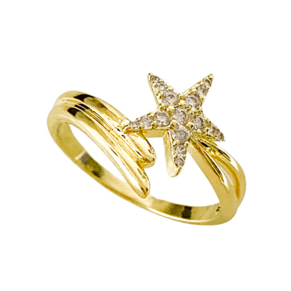 Anel Estrela Zircônia Banhado a Ouro 18k.