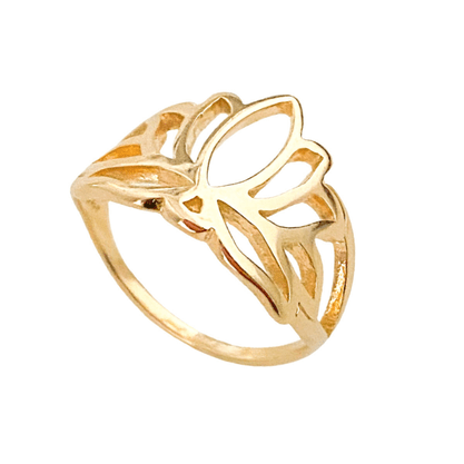 Anel Flor de Lotus Banhado a Ouro 18k.