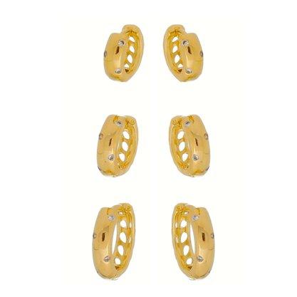 Argola Articulada Trio Zircônia Banhada a Ouro 18k.