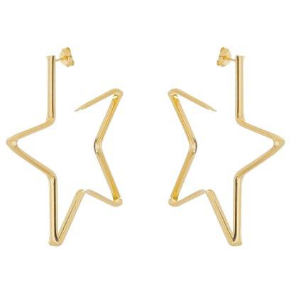 Argola Estrela Banhado a Ouro 18k.