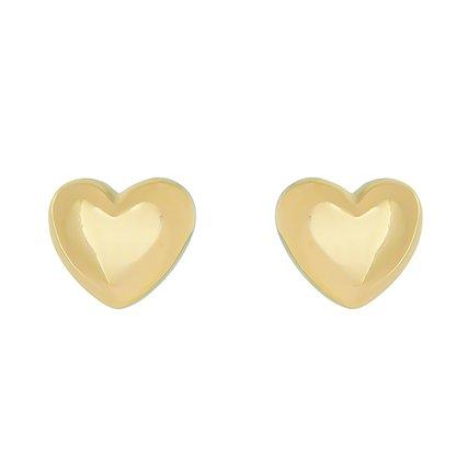 Brinco Coração Banhado a Ouro 18k.