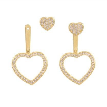 Brinco Ear Jacket Coração Zircônia Banhado a Ouro 18k.