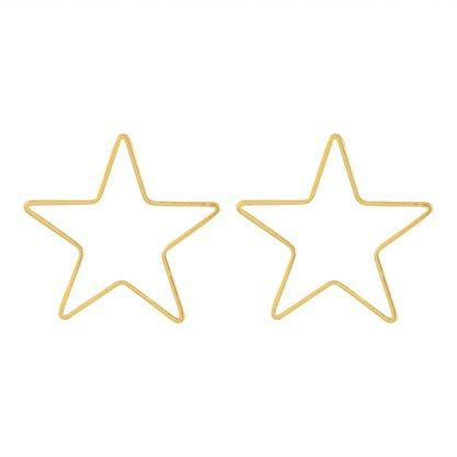 Brinco Estrela Liso Banhado a Ouro 18k.