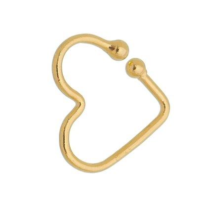 Brinco Piercing Fake Coração Banhado a Ouro 18k.