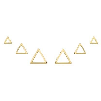 Brinco Trio Triângulo Banhado a Ouro 18k.