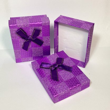 Caixinha Presente Grande Roxa Glitter 1und.