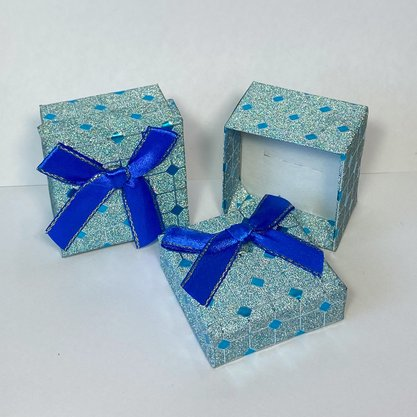 Caixinha Presente Pequena Glitter Azul 1und.