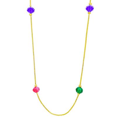 Colar Comprido Cristal Colorido Banhado a Ouro 18k.