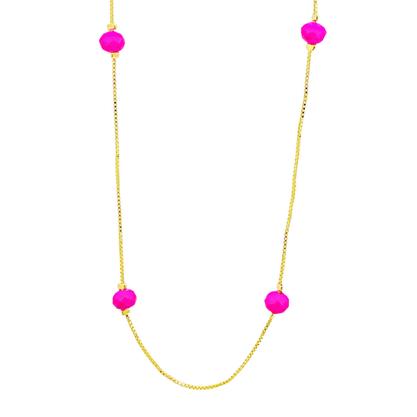 Colar Comprido Cristal Rosa Banhado a Ouro 18k.