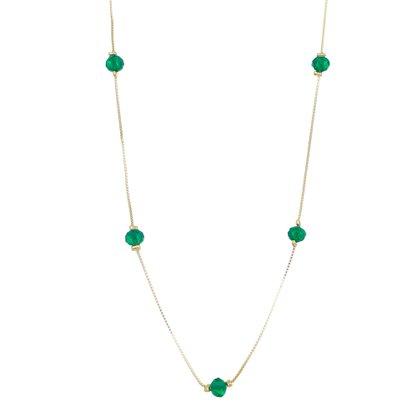Colar Comprido Cristal Verde Banhado a Ouro 18k.