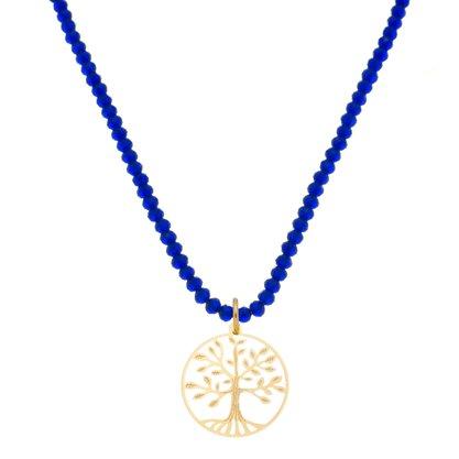 Colar Curto Cristal Árvore da Vida Banhado a Ouro 18k.