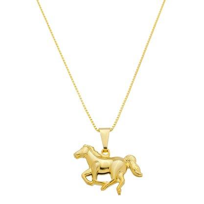Gargantilha Cavalo Banhada a Ouro 18k.