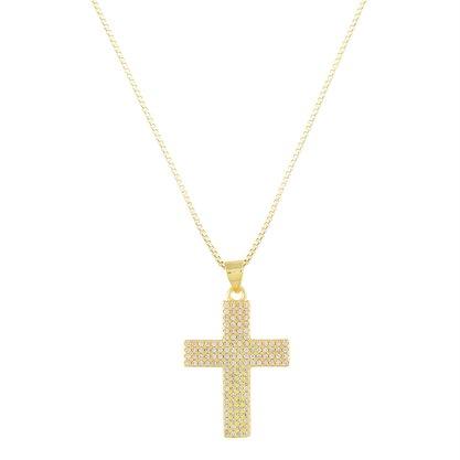 Gargantilha Cruz Zircônia Banhada a Ouro 18k.