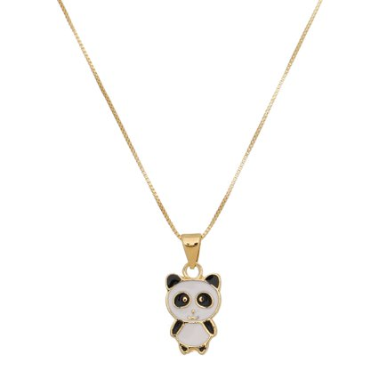 Gargantilha Infantil Panda Esmaltada Banhada a Ouro 18k.