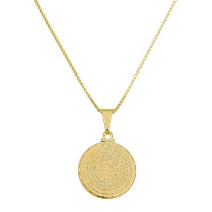 Gargantilha Medalha Pai Nosso M Banhado a Ouro 18k.