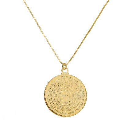 Gargantilha Medalha Pai Nosso Grande Banhada a Ouro 18k.