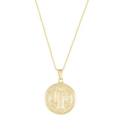 Gargantilha Medalha São Bento Banhada a Ouro 18k.