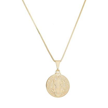 Gargantilha Medalha São Bento Banhado a Ouro 18k.