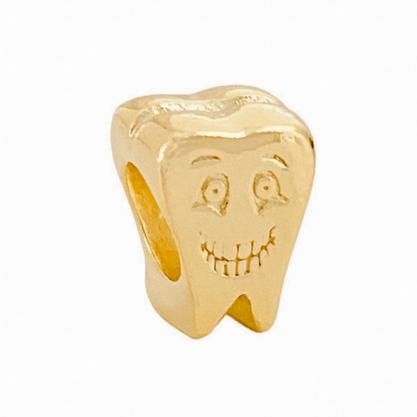 Pingente Berloque Dente Banhado a Ouro 18k.