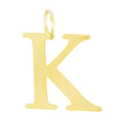 Pingente Dourado Letra K Banhado a Ouro 18k.