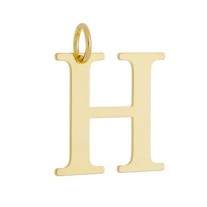Pingente Letra H Banhado a Ouro 18k.
