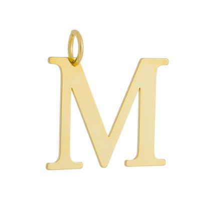 Pingente Letra M Banhado a Ouro 18k.