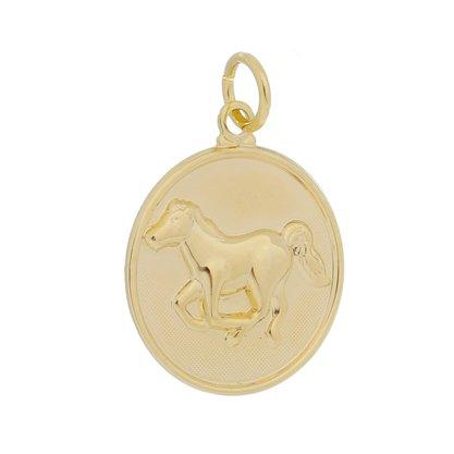 Pingente Medalha Cavalo Banhado a Ouro 18k.