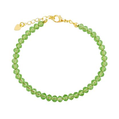 Pulseira Cristal Verde Banhada a Ouro 18k.
