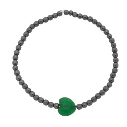 Pulseira Hematita e Pedra Natural Verde Silicone.