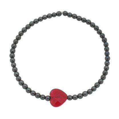 Pulseira Hematita e Pedra Natural Vermelha Silicone.