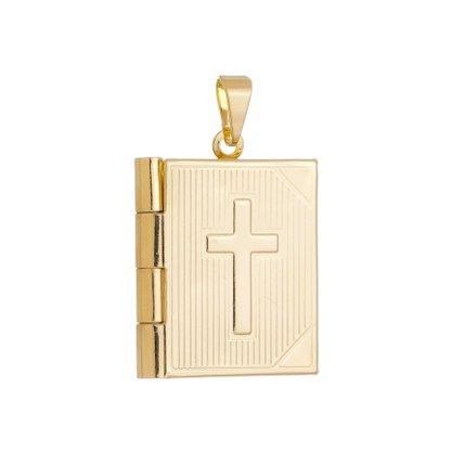 Relícário Bílblia Banhado a Ouro 18k.