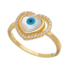 Anel Coração Olho Grego Banhado a Ouro 18k.