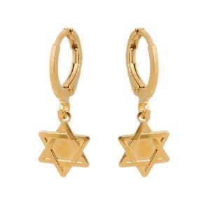 Argola Articulada Estrela de Davi Banhada a Ouro 18k.