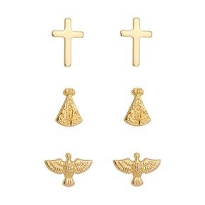 Brinco Trio Religioso Banhado a Ouro 18k.