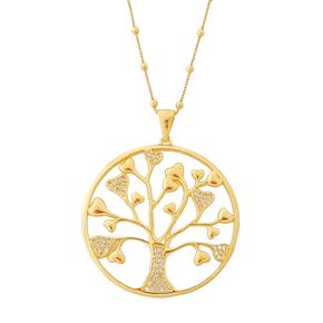 Gargantilha Árvore da Vida Banhada a Ouro 18k.