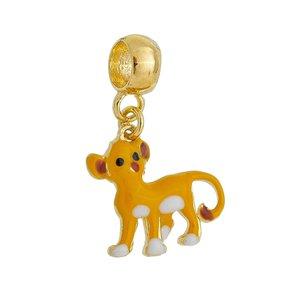 Pingente Berloque Simba Esmaltado Banhado no Ouro 18k.