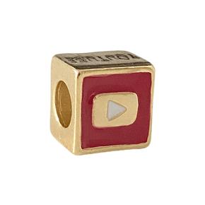 Pingente Berloque Youtube Banhado a Ouro 18k.