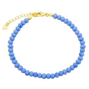 Pulseira Cristal Azul Escuro Banhada a Ouro 18k.