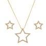 Conjunto Estrela Zircônia Banhado a Ouro 18k.