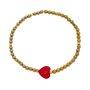 Pulseira Hematita Dourada e Pedra Natural Vermelha Silicone.